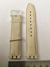Swatch 17mm watch Strap Beige Leather 018