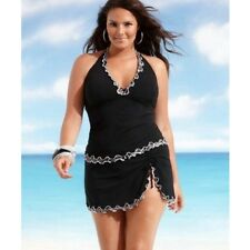 Plus Size Women Push-up One-piece Swim Dress Swimsuit Bikini Swimwear 3XL Black