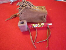 Native American Navajo Indian Handmade & Beaded  Pipe w/pouch leather