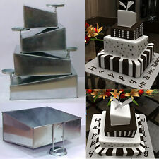 "Topsy Turvy Set of 4 Square Cake Pans with Detachable Stand by Euro Tins 6""-12"""