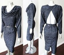Dolman Sheath Pencil Button Halter Back Vintage 70s 80s LBD Cowl Neck Dress Xs
