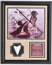 JAWS Roy Scheider signed framed shark photo with Great White Shark tooth