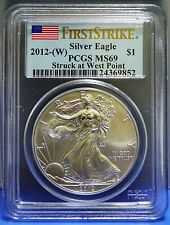 2012 PCGS MS 69 UNC American Silver Eagle .999 Fine Silver First Strike coin