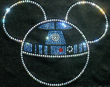 "7.3"" Star Wars R2D2 Mickey iron on rhinestone transfer applique bling patch"