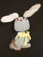 Vintage 1965 KAMAR Plush Blue Velvet Bunny Rabbit Made in Japan with Wire Ears