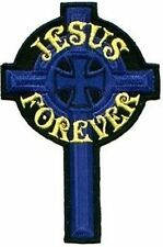 Jesus Forever Blue Cross Embroidered Christian Motorcycle Patch PAT-1004