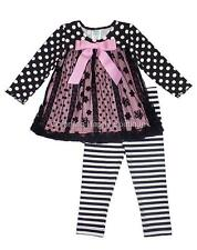 New Girls Boutique Peaches n Cream sz 4 Black Pink Flocked Lace Outfit Holiday