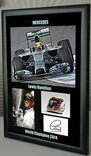 Lewis Hamilton World Champion 2014 Mercedes F1 Canvas Framed Tribute Autographed