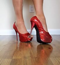 "Women's Shoes/Well Worn Red 5.5"" Sequins Platform Heels/De Blossom/ Size 9/10"