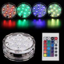 Sumergible 10LED Luz RGB Fiesta Boda Jarrón Base Lámpara + Mando A Distancia