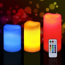 3pc REMOTE CONTROL COLOUR CHANGING LED FLAMELESS MOOD WAX CANDLES WITH TIMER RGB