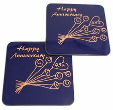 45th Wedding Anniversary (Sapphire) Pair of Coasters Flower