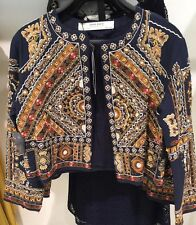 ZARA Navy Blue Ethnic Embroidered Beaded Jacket Blazer Coat Size Large L