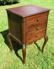 Antique French Massive Oak Side Cabinet End Table Nightstand 3 Drawers 19th C