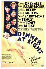 DINNER AT EIGHT Movie POSTER 27x40 John Barrymore Lionel Barrymore Wallace Beery