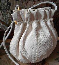 LISETTE IVORY Genuine Snakeskin Shoulder Bag ARGENTINA Cuero Vaca BRIDAL BAG