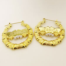 18K GP  Round Bamboo Personalized Name Hoop Earring 1.9 inches made in New York