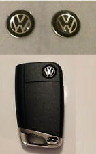 2 x DELUXE 11mm VW Car Key Fob Remote Badge BLACK Gel Golf Passat Scirocco Polo
