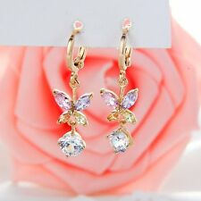 Fashion yellow gold filled rainbow crystal cute butterfly womens drop earrings