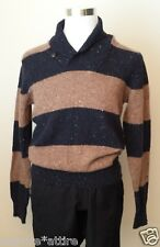 VINCE men sweater wool shawl style v-neck men size M retail $245 brown with blue