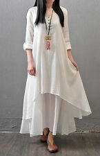 Ladies White Long dress Muslim Arabic Dubai  Loose Clothes Women dress size 2XL