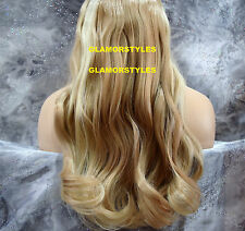 "20"" BLONDE #16-22 FLIP IN SECRET CLEAR WIRE HAIR PIECE EXTENSIONS NO CLIP IN/ON"