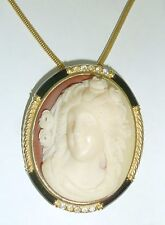 VINTAGE 1980 GOLD TONE RAISED RESIN CAMEO PENDANT, CHAIN WITH ENAMEL & DIAMANTES