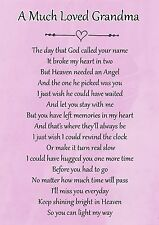 A Much Loved Grandma Memorial Graveside Poem Card & Free Ground Stake F115