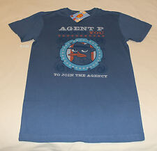 Disney Phineas & Ferb Mens Blue Printed Short Sleeve T Shirt Size XS New