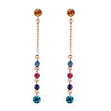 GORGEOUS 18K ROSE GOLD PLATED GENUINE SWAROVSKI CRYSTAL LONG DANGLE  EARRINGS
