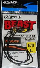 OWNER 5130-161 BEAST with TWISTLOCK Hooks Size 6/0 XXX Strong Big Gap Pack of 3