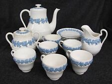 Vintage WEDGWOOD Embossed Tea Set QUEENSWARE 15 Pieces White Lavender (AB956)