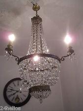 Lustre Montgolfière Ancien à 3 Lumières  Bronze & Pampilles Ht.100cm Plafonnier