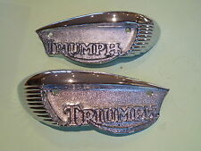 TRIUMPH  T100 T120 TR6 PETROL FUEL TANK BADGES 82-6887 82-6888 PAIR UK MADE