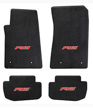 NEW! BLACK FLOOR MATS 2010-2015 Camaro Embroidered Logo RS in Red on all 4 mats