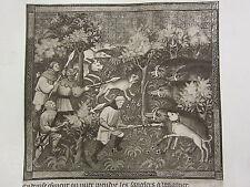 Impression antique chasse ~ en attente de la charge de la sangliers