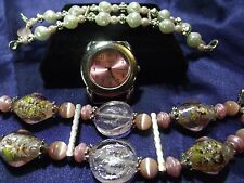 Geneva Woman's Watch with 2 Beaded Bands (Pink) B29-B065