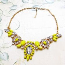NEW Yellow Resin Crystal Bubble Bib Statement Bubble Necklace Women's Party 18""