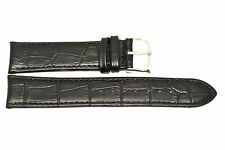 GORGEOUS 22MM BLACK ALLIGATOR STITCHED LEATHER WATCH BAND STRAP FOR CITIZEN
