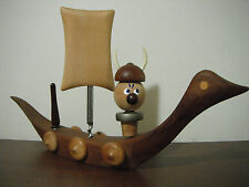 Vintage Denmark BAR Set Teak Wood VIKING SHIP LARGE CORKSCREW OPENER STOPER