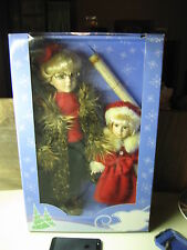 Spirits Bright Twin Pack Porcelain Collector's Holiday Dolls NIB