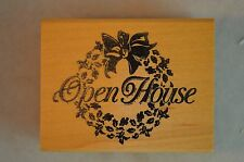 Open House Wood Mounted Rubber Stamp, Stamp of Excellence, Christmas, Wreath,Bow