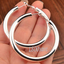 Ladies 925 Sterling Silver Fashion Korean Style 2 inch Round Hoop Earrings A792