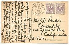 Italy  Post Card  To California  Franked With Revenues  See Description 1920