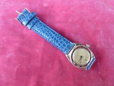 CHIC ART DECO 10K SOLID GOLD WOMAN'S WALTHAM DRESS WATCH W BLUE ALLIGATOR BAND