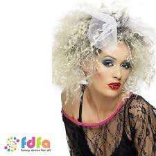 80S BLONDE WILD CHILD MADONNA PUNK ROCKER CURLY WIG - womens ladies fancy dress