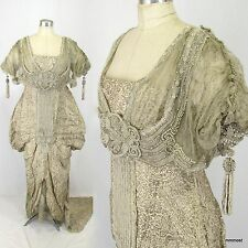 Antique Edwardian 1910s French Gold Brocade Ball Gown Beaded Maurice Mayer Paris