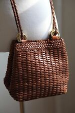 Vintage Ann Taylor Woven Leather Cross Body Purse 70s 80s 90s Retro Braided