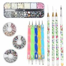 Nail Art Accessories Starter Kits DIY Tools Rhinestone Dotting Pens Brush New