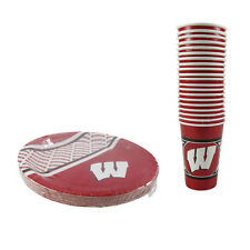 New NCAA Wisconsin Badgers 40 Disposable Paper Plates Cups Party-Ware Supplies